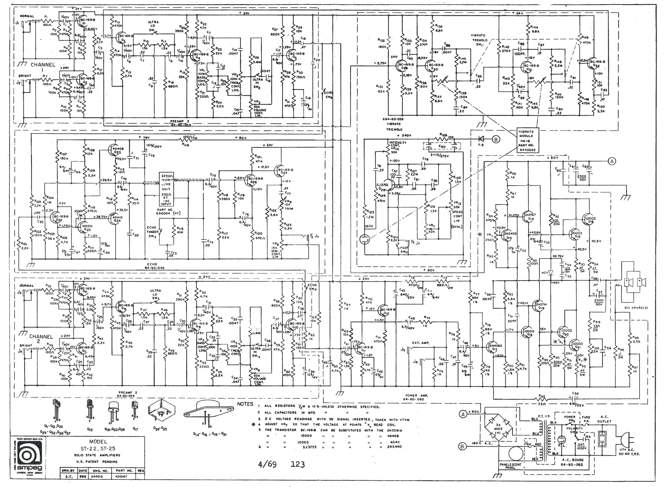 Vintage Ampeg Docs Amplifier Schematics Sst Sbt Power